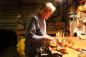 Tightening the clamps and cleaning up glue squeeze-out
