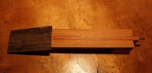 Overhead view of the neck, bolt on tenon and truss rod.