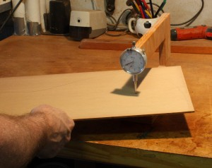 Measuring the starting thickness of the Cedar top.
