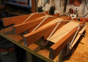 The Cedar top glued and drying in the joining jig.