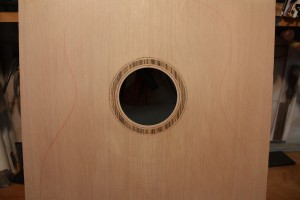 The completed rosette and purfling with the soundhole cut out.