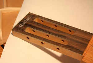 The completed headstock save the shaping of the bottom to meet the neck width.