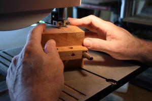 Cutting out the rough shape of the heel on the bandsaw.