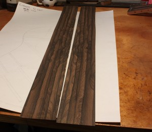 The finished Ziricote sides ready for bending.