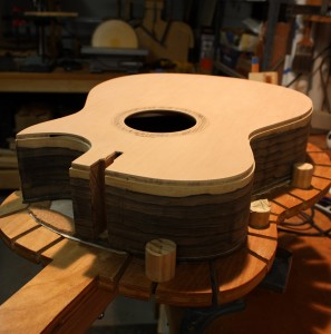 The guitar body ready for binding and purfling.
