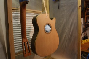 The Cedar top and neck after the first 12 coats of spraying.