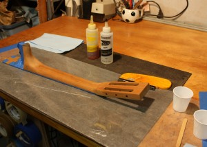 Preparing the neck for pore filling - the Ebony is taped off.