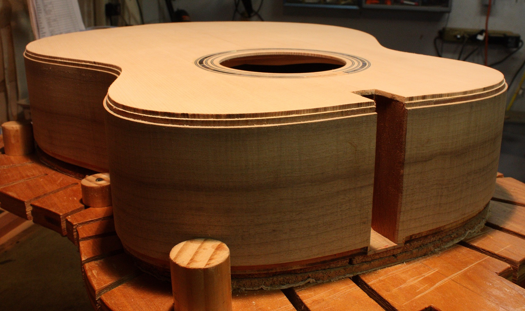 The binding and purfling channels have been routed in the top and side.